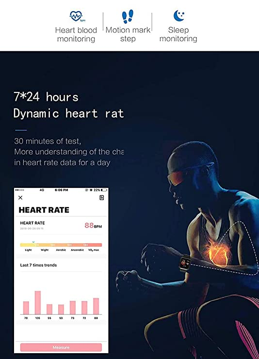 MrRong Relojes Inteligentes Resistente al Agua, Reloj Inteligente Deporte Monitor de Ritmo cardíaco Monitor de Actividad física Monitor de presión ...