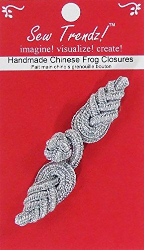 Sew Trendz-Vision Trims Handmade Chinese Frogs Button Closures-Metallic Silver-Pineapple Design - 1 Pair/pk.