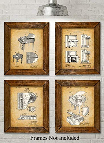 Original Piano Patent Art Prints - Set of Four Photos (8x10) Unframed - Great Gift for Piano Players (Players Great Piano)