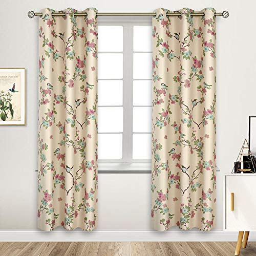 - BGment Printed Blackout Curtains for Bedroom with Birds Floral Patterns - Grommet Thermal Insulated Room Darkening Vintage Curtains for Living Room, Set of 2 Panels (42 x 84 Inch, Beige)