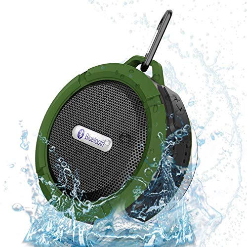 Anmaike Portable Bluetooth Speaker,Waterproof Wireless Speaker with 5W Louder HD Sound,Shower Speaker with Suction Cup,Built in Mic Support TF Card for Bathroom Pool Beach Outdoor(Green)