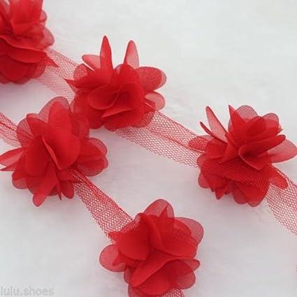 Ghirlanda di petali di fiori con foglie in chiffon per abito da sposa 32bf2a22465