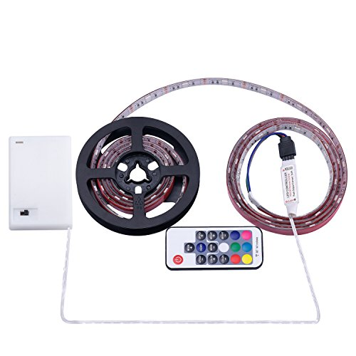 Battery Powered LED Strip Lights, RF Remote Controlled, Multi-Color Changing, DIY Indoor and Outdoor Decoration, 6.56ft/2M, Waterproof by ACONDE