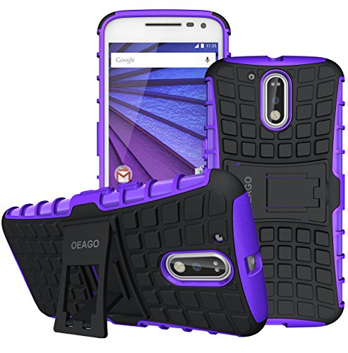 Moto G4 Case, Moto G4 Plus Case - OEAGO [Shockproof] [Impact Protection] Tough Rugged Dual Layer Protective Case Cover with Kickstand for Motorola Moto G4 / G4 Plus (Moto G Plus, 4th Gen) - Purple