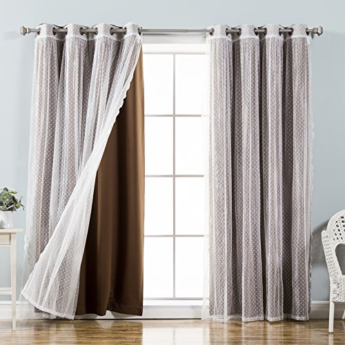 Best Home Fashion Mix & Match Dotted Tulle Lace & Solid Blackout Curtain Set – Antique Bronze Grommet Top – Chocolate – 52