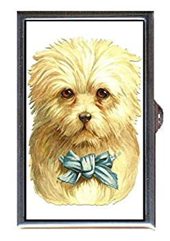 Victorian Dog White with Blue Bow, Cute Art Decorative Pill Box