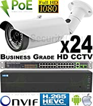 USG 24 Camera Security System 24MP 64 Channel NVR 24x 1080P 2MP 2.8-12mm PoE IP Bullet Cameras 1x 4TB HDD 1x 26 Port PoE Network Switches Business Grade HD Video Surveillance Phone App