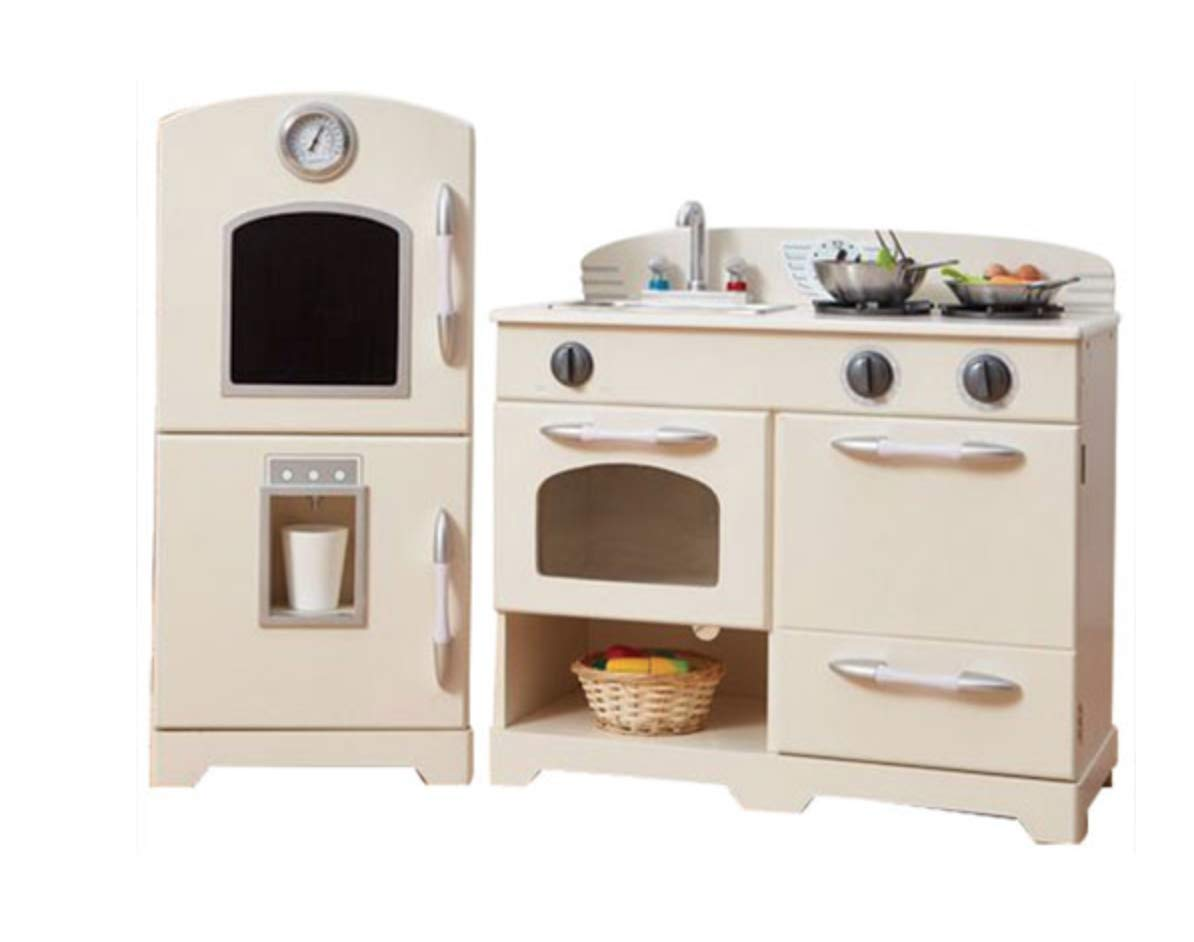 Teamson Kids - Retro Wooden Play Kitchen with Refrigerator, Freezer, Oven and Dishwasher - White (2 Pieces)