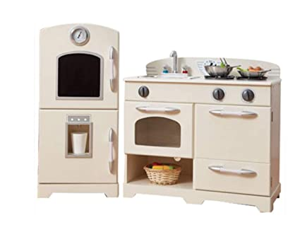 Charmant Teamson Kids   Retro Wooden Play Kitchen With Refrigerator, Freezer, Oven  And Dishwasher