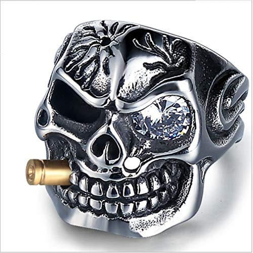 EH-LIFE Mens Retro Skull Smoking Rings Alloy Vintage White Crystal Rings Jewelry Gifts 7 by EH-LIFE (Image #1)
