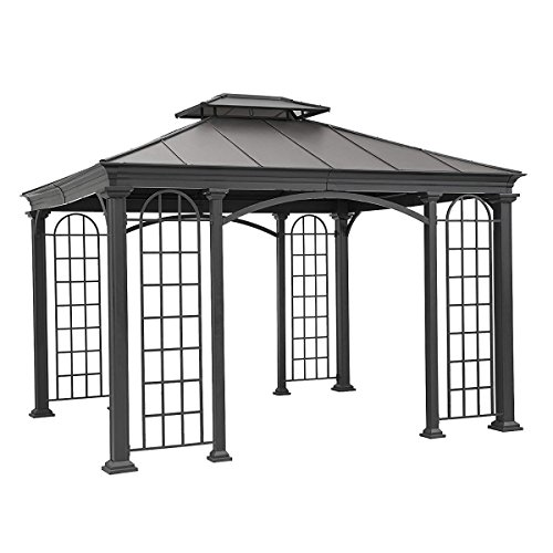 Gazebo Roof Construction (Sunjoy Top Summerville Gazebo, Black, Big)