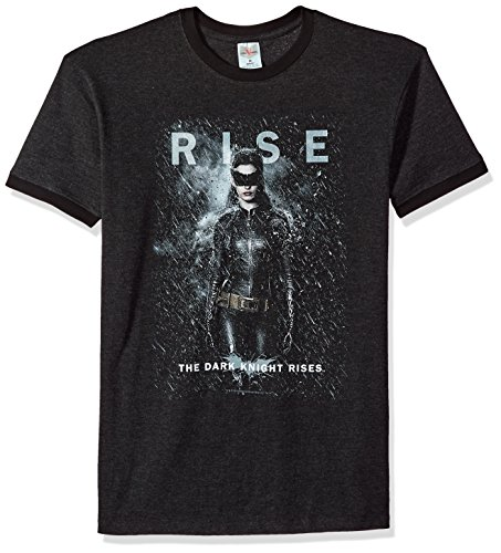 Trevco Men's Batman Dark Knight Rises Short Sleeve T-Shirt, Catwoman Heather/Black, Medium]()