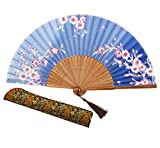Amajiji 8.27'' Chinease/Japanese Hand Held Silk Folding Fan with Bamboo Frame,Hollow Carve Patterns Bamboo Frame Women Hand Folding Fans Hand Fan Gift fan Craft fan Folding Fan Dance Fan (HBSY-29)