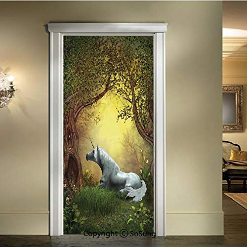 baihemiya Applique Sticker,Enchanted-Forest-Fantasy-Magical-Willow-Trees-Wildflowers-Woodland-Animal-Folklore,W30.3xL78.7inch,for Home Decor Self-Adhesive Removable Art Door - Willow Wild