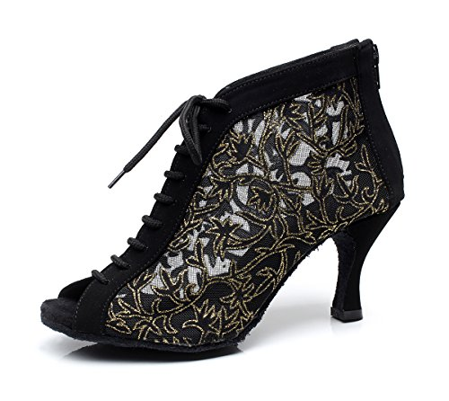 Abby AQ-7018 Womens Sexy Fashion Pretty Modern Mid Heel Peep-toe Lace-up Dance-shoes Black bDopo7