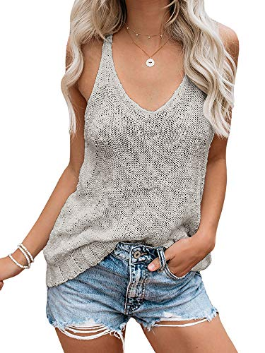 Ybenlow Womens Summer Knit Racerback Tank Tops V Neck Sleeveless Sweater Casual Sheer Vest Shirt Blouses Grey