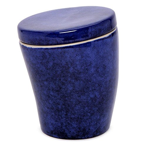 AllAsta Stoneware Crooked Canister Indigo Blue Food Storage 6 Inches ()