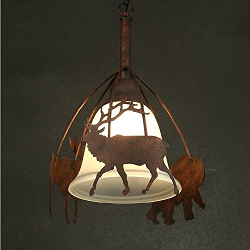 American country retro cafe bar animal deer chandeliers Nordic personality antique glass pendant lamp LO123504PY by SUPPER PP