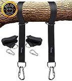 EKKONG ブランコ、ハンモック固定用ベルト ロープ 2本セット フック2本 収納袋1個 耐荷重量500kg キャンプ アウトドアに簡単設置 ブラック(150cm)