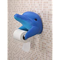YOURNELO Creative Ocean Shark Dolphin Wall-Mounted Roll Paper Holder for Toilet or Kitchen (Dolphin Blue)