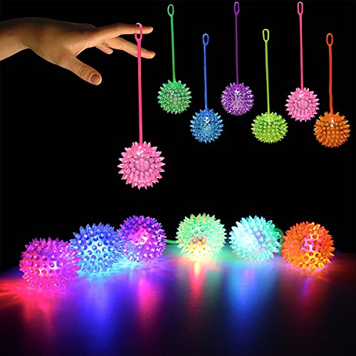 [LED Light Up Flashing Bouncing Balls Party Favors - Various Ball Styles by Mammoth Sales (Spiky YoYo] (Bouncy Ball Costume)