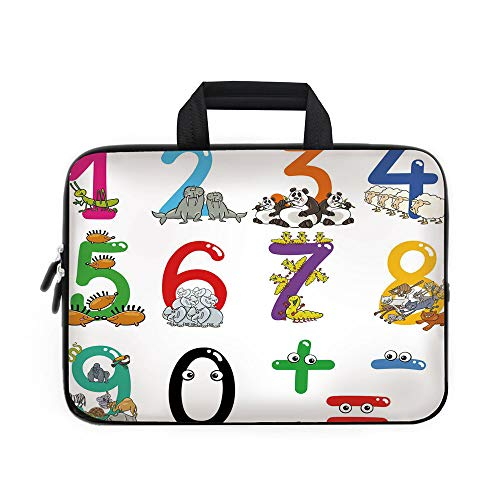 m Decor Laptop Carrying Bag Sleeve,Neoprene Sleeve Case/Numbers from Zero to Nine with Zoo Animals Happy Fun Preschool Decorative/for Apple MacBook Air Samsung Google Acer HP DELL ()