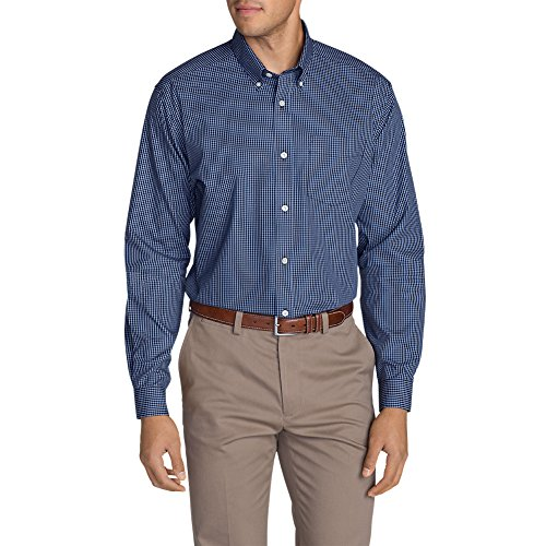 Eddie Bauer Men's Wrinkle-Free Relaxed Fit Pinpoint Oxford Shirt - Blues, Deep S Long Sleeve Relaxed Fit Oxfords
