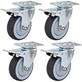 YUANP Caster Wheels with Brakes,Heavy Duty Castors