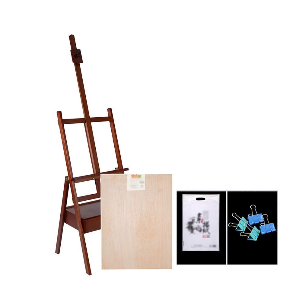 YY ポータブル木製イーゼル引き出し付き4Kスケッチパッド、アーティストのスタジオアートイーゼルに適した調節可能なキャンバスホルダー - ブラウン   B07RWGDZ91