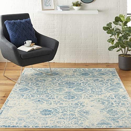 Nourison Jubilant Vintage Damask Blue Area Rug 6' x 9