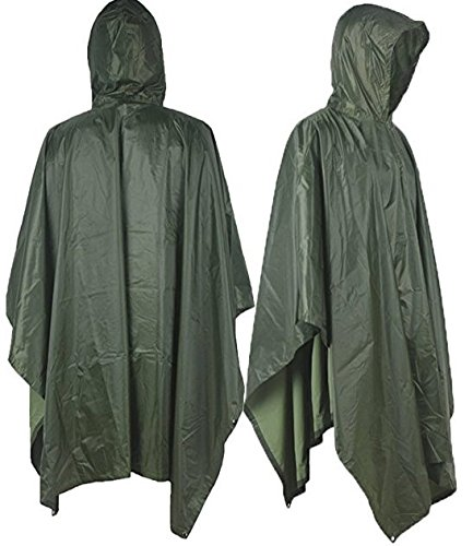 T-wilker 3 in1 Rain Poncho Waterproof Camouflage Ripstop Rain Jacket Batwing-sleeved Rain Coat with Hoods