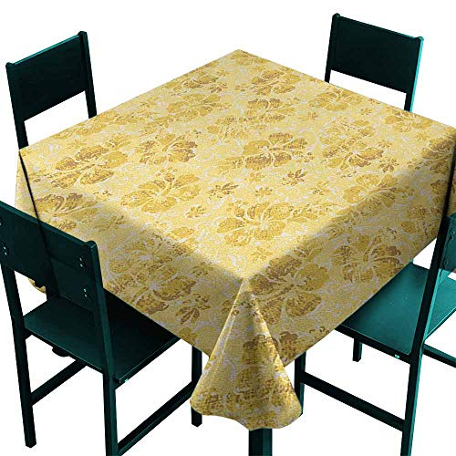 Sunnyhome Tablecloth for Kids/Childrens Hawaiian Golden Hibiscus Flowers Pattern Grunge Tropical Beach Theme in Hawaii Nature Picture Party Decorations Table Cover Cloth 36x36 Inch -