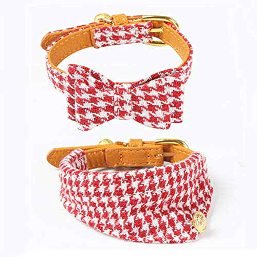 PetFavorites Small Dog Costume Collar - Houndstooth Bowtie Kitten Bandana Collar for Halloween - Chihuahua Yorkie Clothes Outfits Accessory (Red Houndstooth Bow and Bandana, 8.7 to 11-Inch)