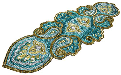 Linen Clubs Hand Made Beaded Table Runner 13x36 Inch in Mini Paisley Design Teal Silver Gold Colors,Produced by Skilled Village Artisans in India - A Beautiful Complements to Dinner