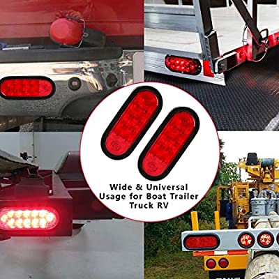 CZC AUTO 6'' LED Waterproof Oval Red Trailer Lights Rear Stop Turn Signal Parking Tail Brake Lights for Boat Trailer Truck RV (Red, 2 Pack): Automotive