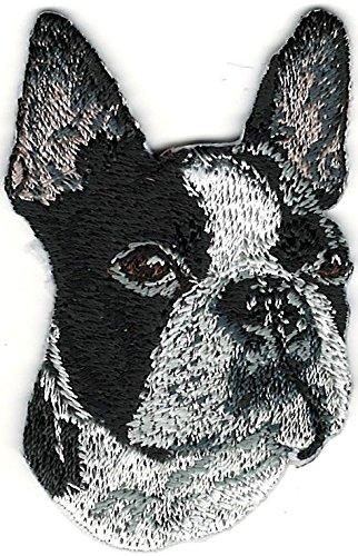 Black White Boxer Boston Terrier Portrait Embroidery Patch