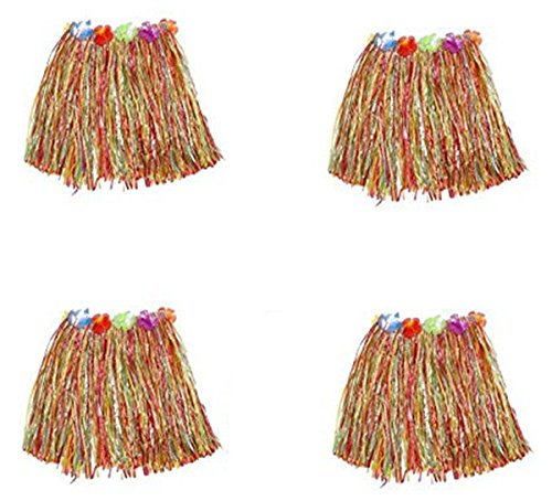 Grass Hula Color Multi Skirt (Yansanido Pack of 4 Dancing Hula Set Grass Skirt Children Costume Suit Elastic Hawaiian Hula Dancer Grass Skirt/30cm (Multicolor 4pcs))
