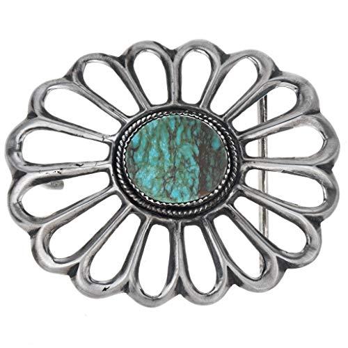 (Kings Manassa Turquoise Belt Buckle Old Pawn Sandcast Design 1310)
