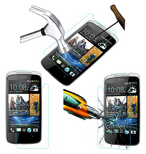 Acm Tempered Glass Screenguard Compatible with HTC Desire 500 Mobile Screen Guard Scratch Protector