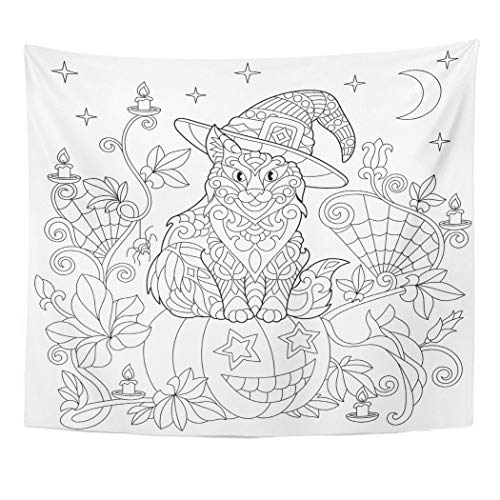 Emvency Wall Tapestry Halloween Coloring Page Cat in Hat Pumpkin Spider Lanterns with Candles Moon and Stars Freehand Sketch Drawing for Adult Decor Wall Hanging Picnic Bedsheet Blanket 60x50 -
