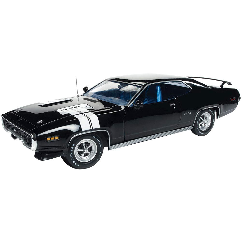 1971 Plymouth GTX Hardtop Black Velvet with White Stripes Limited Edition to 1,002 Pieces Worldwide 1/18 Diecast Model Car by Autoworld AMM1133