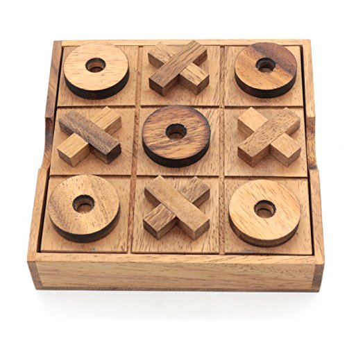 Tic Tac Toe Wood Coffee Tables Family Games to Play and a Classic Game Home Decor for Living Room Rustic Table Decor and Use as Game Top Wood Guest Room Decor Strategy Board Games for Families (Fun Games To Play Inside The House)