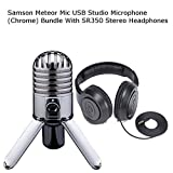 Samson Meteor Mic USB Studio Microphone (Chrome) Bundle With SR350 Stereo Headphones