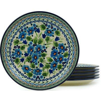 Polish Pottery Set of 6 Plates 11-inch Evangeline UNIKAT