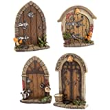 Mini Fairy, Gnome, or Elf Door for Your Garden or Christmas Tree. X4AST 3IN to 3.5IN Resin (4 Pack)