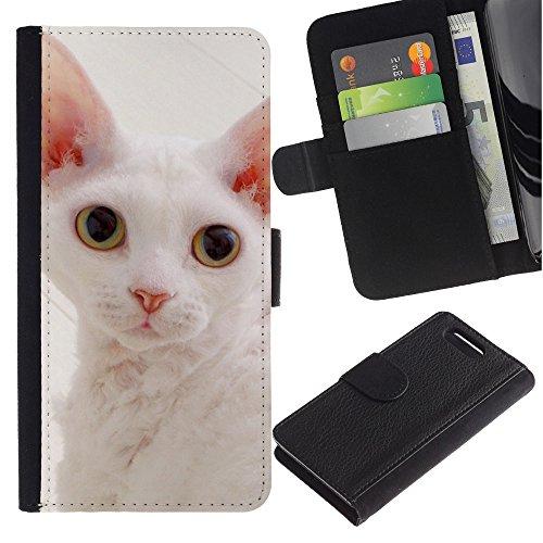 LASTONE PHONE CASE / Lujo Billetera de Cuero Caso del tirón Titular de la tarjeta Flip Carcasa Funda para Sony Xperia Z1 Compact D5503 / White Devon Rex Big Ears Cat Pink Nose
