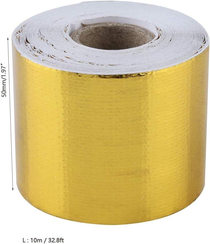Cinta de papel de aluminio, Fydun 1 Rollo Coche dorado Papel de aluminio Adhesivo Cinta de envoltura de escudo térmico reflectante para aislamiento de tuberías de conductos de HVAC(Gold 10M*5Cm): Amazon.es: Coche