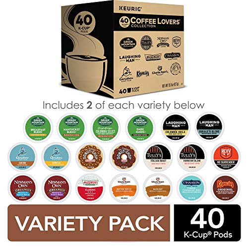 Keurig Coffee Lovers' Collection Sampler Pack, Single-Serve K-Cup Pods, Compatible with all Keurig 1.0/Classic, 2.0 and K-Café Coffee Makers, Variety Pack, 40 Count (Office Kona Supply)