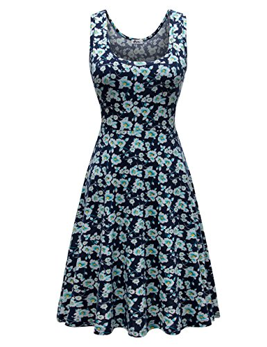 Herou Women Summer Beach Casual Flared Floral Tank Dress Small (Flared Womens Dress)