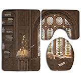 Hexu Study In Medieval Library With Cat Sleeping On Window Antique Mansion Bathroom Rug 3 Piece Bath Mat Set Contour Rug And Lid Cover